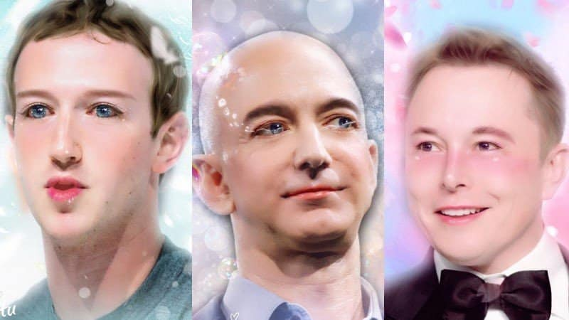 Mark Zuckerberg, Jeff Bezos, and Elon Musk after going through Meitu's photo editor. Do you think they look better?