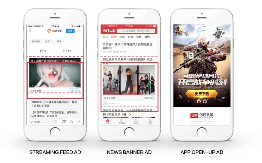 Some examples of Toutiao's Native Ads. Source: Jademond Digital