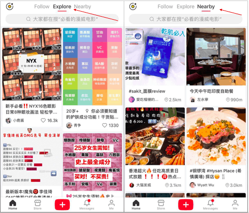 "XiaoHongShu's ""Explore"" and ""Nearby"" interfaces 