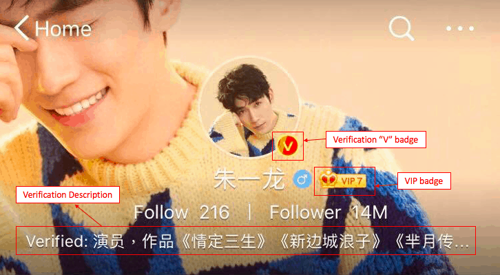 An example of Verified account on Weibo (Celebrity account) | Dragon Social