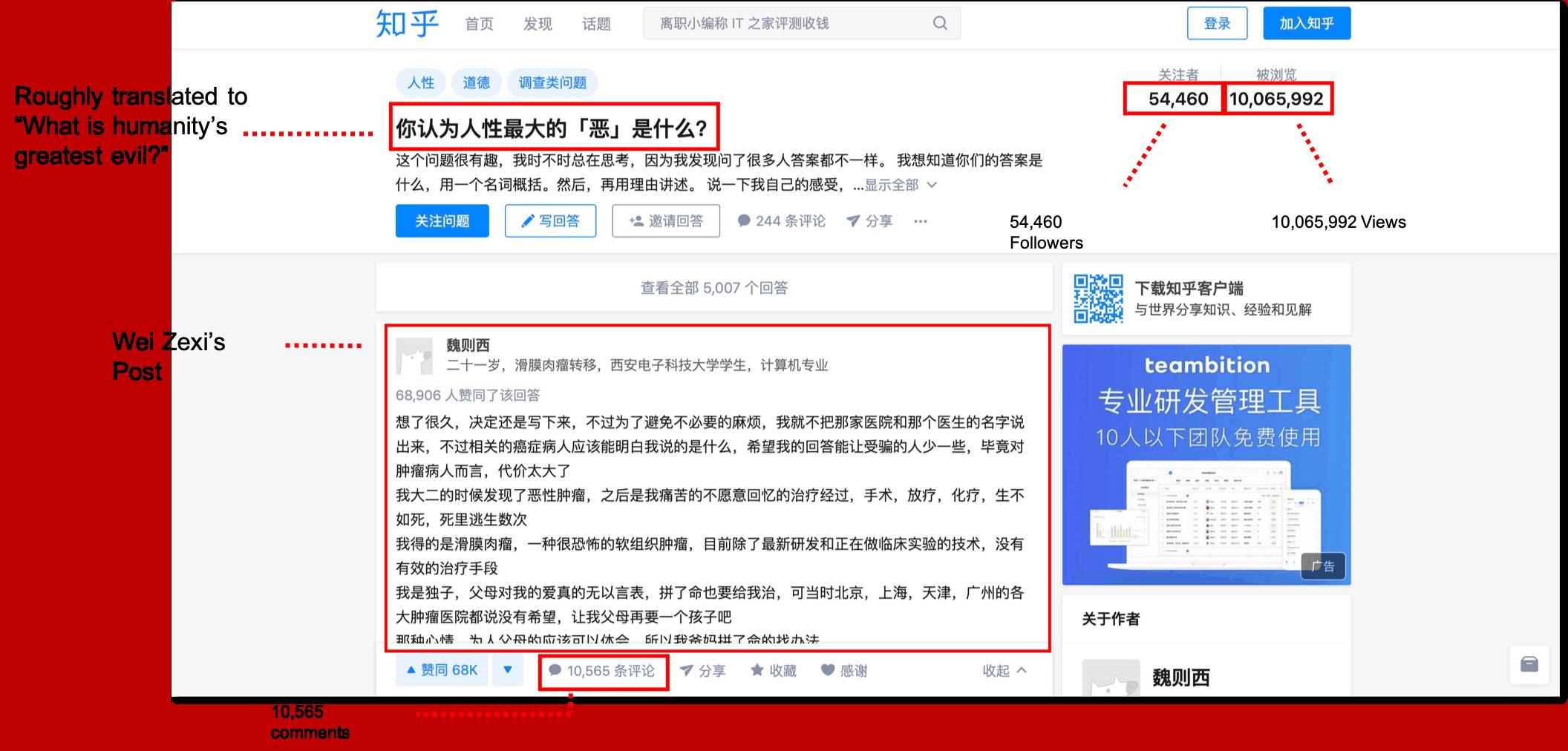 Wei Zexi's Post, Still Live on Zhihu