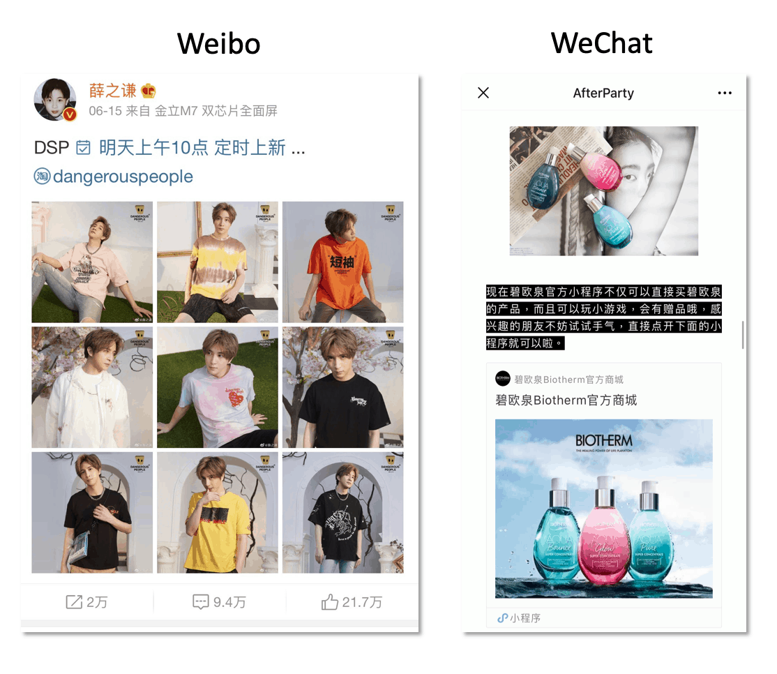 Content on Weibo and WeChat is usually composed of text and graphics. While there are ways to get videos on these platforms it isn't as common.